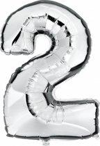 Cijfer 2 ballon zilver