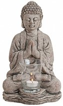 Boeddha beeldje theelichthouder grijs 30 cm