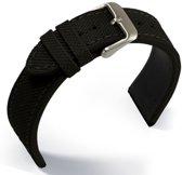 Horlogeband Canvas Zwart - 22mm