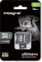 Integral UltimaPro 8GB Micro SDHC Card - Class 10 - 40MB/s + SD Adapter