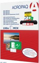 ACROPAQ lamineerhoezen mix-pakket 100x 80 micron (20xA4, 20xA5, 20xA6, 40xA8 (visitekaartje))
