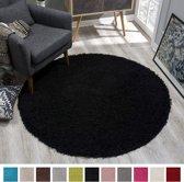 Shaggy Hoogpolig Rond vloerkleed Zwart Effen Tapijt Carpet - 150 x 150 cm