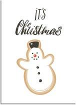DesignClaud Kerstposter It's Christmas Sneeuwpop - Kerstdecoratie Kleurrijk A3 poster (29,7x42 cm)
