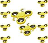 relaxdays 10 x Fidget Spinner geel - hoge kwaliteit - hand spinner - anti-stress draaier
