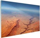 Luchtfoto van de Grand Canyon Glas 180x120 cm - Foto print op Glas (Plexiglas wanddecoratie) XXL / Groot formaat!