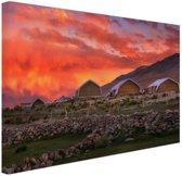 Zonsondergang India Canvas 30x20 cm - klein - Foto print op Canvas schilderij (Wanddecoratie woonkamer / slaapkamer)