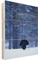 Auerhoen tussen de witte bomen Vurenhout met planken 60x90 cm - Foto print op Hout (Wanddecoratie)