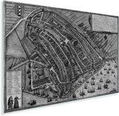 Een historische zwart wit stadskaart van Amsterdam Plexiglas - Plattegrond 180x120 cm - Foto print op Glas (Plexiglas wanddecoratie) XXL / Groot formaat!