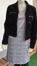 Pink Lady dames jurk zwart/wit ruit - maat M
