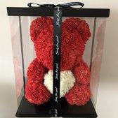 Rose bear|Rozen beer| Rozenbeer| Valentijnsdag| Valentijns cadeau| Rood 40 cm met giftbox en giftcard   van Bloomingbears.