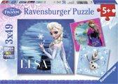 Puzzel 3 x 49 stukjes Frozen Anna, Olaf en Elsa