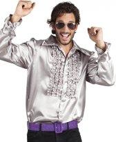 Voordelige zilveren rouche blouse 2xl