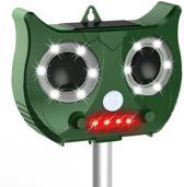 MoziWozi Ultrasone Kattenverjager groen 2019 UPGRADE - Werkt op zonne-energie met oplaadbare batterijen (incl). Verdrijft katten, ratten, muizen, vleermuizen, en steenmarters. Inclusief USB Charger.
