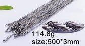 Stalen koord ketting 3mm 50 cm