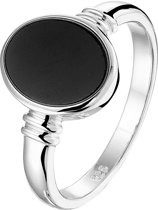 The Fashion Jewelry Collection Ring Onyx - Zilver