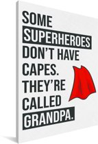 Cadeau voor opa met tekst - Superheroes Canvas 80x120 cm