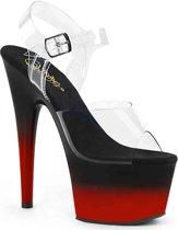 Pleaser Sandaal met enkelband -38 Shoes- ADORE-708BR-H Wit/Zwart