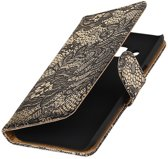 BestCases.nl Zwart Lace booktype wallet cover hoesje voor Samsung Galaxy A3 2017 A320F