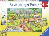 Ravensburger puzzel Een dag in de dierentuin - Twee puzzels - 24 stukjes - kinderpuzzel