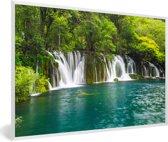 Foto in lijst - De groene natuur boven de watervallen in nationaal park Erawan fotolijst wit 60x40 cm - Poster in lijst (Wanddecoratie woonkamer / slaapkamer)
