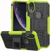 Let op type!! Tire Texture TPU + PC schokbestendig geval voor iPhone XR  met houder (groen)
