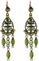 Oorhanger antiek goudkleur kleur met hanger en groene stenen