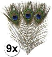 9x Pauwenveren - decoratie veertjes
