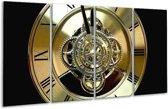 Glasschilderij Klok | Bruin, Goud, Geel | 160x80cm 4Luik | Foto print op Glas |  F000738