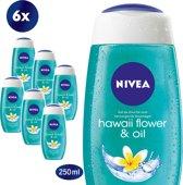 NIVEA Hawaii Flower & Oil - 6 x 250 ml - Voordeelverpakking - Douchegel