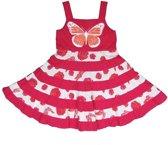 LoFff Meisjes Jurk Roze met vlinder - Maat 80