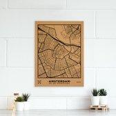 Miss Wood - City Map kurken stadskaart - 60x45cm (L) - Amsterdam - Zwart