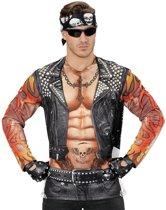 Aso & Biker & New Kids Kostuum | T-Shirt Lange Mouwen Rocker / Biker Man | Medium / Large | Carnaval kostuum | Verkleedkleding