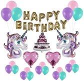 Happy Birthday Unicorn party set DELUXE | 27 items | Eenhorn set | Luxe uitvoering | Verjaardagsfeestje | Feest | Slingers |kinderfeestje | kinderfeest | ballon | ballonnen | babyshower | versiering| verjaardagset | verjaardag | decoratie | eenhoorn