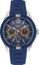 GUESS Watches Heren Horloge W0967G2 - siliconen - blauw - Ø 46 mm