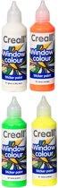 Glas Verf - 4 Kleuren Assortiment – 4 x 80ml - Windowcolor – Met handig Tuitdop – Maak zelf mooie Stickers