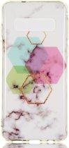 Samsung Galaxy S10 TPU Back Cover met Marmer Print Hexagon