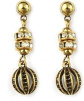 Goud metalen steek oorbellen met diamantjes en gouden details.