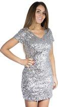Pailletten jurkje zilver XL