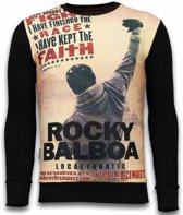 Local Fanatic Rocky Balboa Faith - Digital Rhinestone Sweater - Zwart - Maten: S