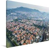 Luchtfoto van het Aziatische Foshan Canvas 160x120 cm - Foto print op Canvas schilderij (Wanddecoratie woonkamer / slaapkamer) XXL / Groot formaat!