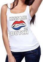 Kiss me I am Dutch tanktop / mouwloos shirt wit dames - feest shirts dames - Holland kleding M
