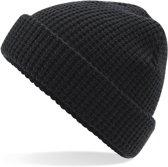 Senvi Classic Wafel Knit Beanie Zwart (One size fits all)