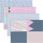 Decoupagepapier, vel 25x35 cm,  17 gr, pastelkleuren, 80div vellen