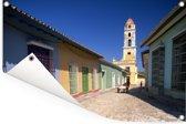 Kleurrijke gebouwen in het Noord-Amerikaanse Cuba Tuinposter 90x60 cm - Tuindoek / Buitencanvas / Schilderijen voor buiten (tuin decoratie)