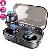 Glacor® Sound 1 Draadloze Bluetooth Sport Oordopjes  - met 4000mAH Oplaadetui en powerbank – IPX7 waterdicht - 110u luistertijd - Zwart