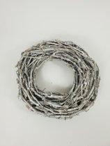 Kransen - Grape Wood Wreath 40*7 Cm. White Washed