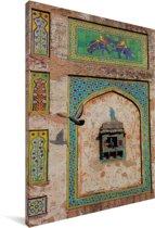 Geschilderde muur in het Fort van Lahore in Pakistan Canvas 120x180 cm - Foto print op Canvas schilderij (Wanddecoratie woonkamer / slaapkamer) XXL / Groot formaat!