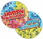 Happy Birthday party bordjes 12 stuks - thema feest bordjes 18 cm