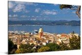 Luchtfoto van de Franse havenplaats Saint-Tropez Aluminium 180x120 cm - Foto print op Aluminium (metaal wanddecoratie) XXL / Groot formaat!