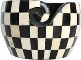 Yarn Bowl / Garen kom, zwart wit geruit